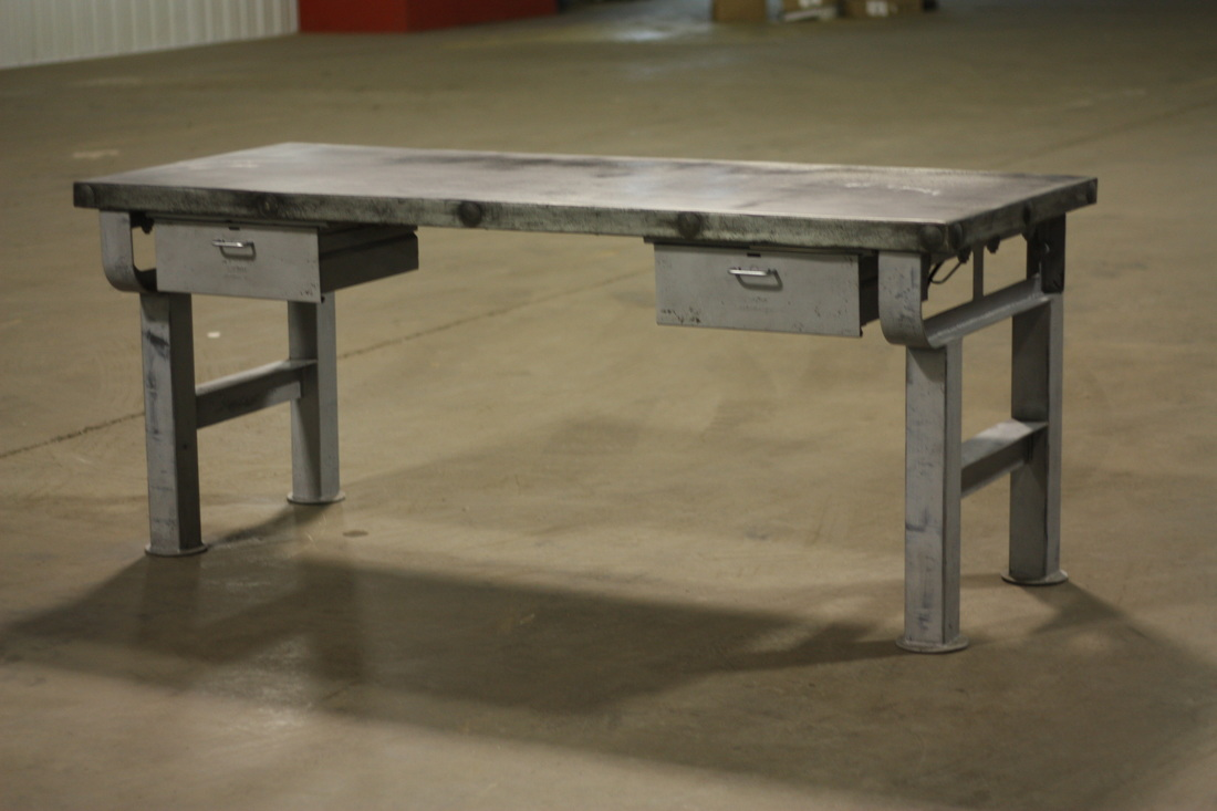 Desk Steel Base With Distressed Painted Finish Zinc Wrapped Top On Details And Patina One Working Drawer